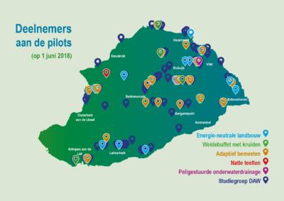 Kaart Proeftuin Krimpenerwaard deelnemers